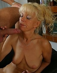 Cute blonde mom on cock