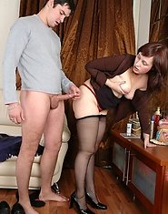 Lewd mature chick in black pantyhose getting screwed with her legs upward
