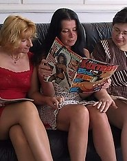 Three mature lesbians getting nasty on a couch