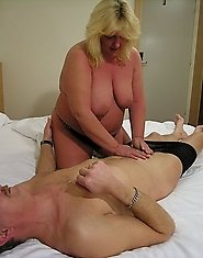 Horny big blonde mature fucking and sucking