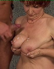 Fucked granny takes a cumshot on the tits