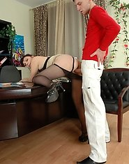 Freaky mature business woman in black pantyhose getting her twat massaged