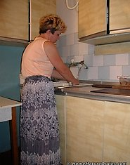 Mom in kitchen action