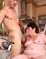 A horny grandma takes a spin on some younger cock