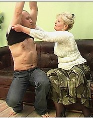 A bold guy is fucking a mature lady in green skirt