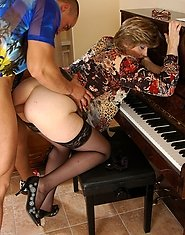 Oversexed mature teacher going for a hard anal lesson instead of music one