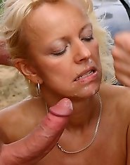 outdoor cum eating mature