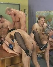Grandma gets gangbanged by several guys at once