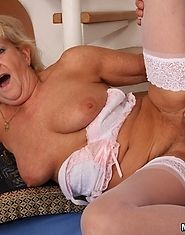 The gorgeous granny gives him great head and that makes him need to fuck her old pussy