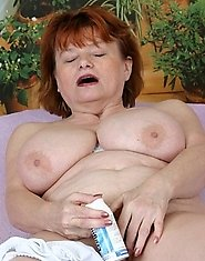 redhead granny gets a creaming